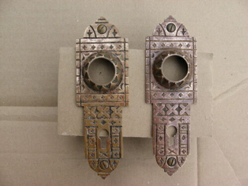 Pair of Vintage Antique Victorian Solid Brass Door Knob Backplates