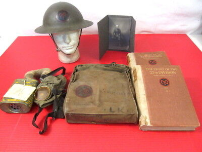 WWI US Army 27th Division Grouping M1917 Helmet & Gas Mask w/Unit History Books, used for sale  Henderson