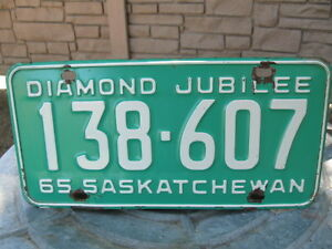 1965 SASK DIAMOND  JUBILEE  LICENSE PLATE