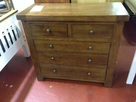 New Solid Dark Oak 2 over 3 drawer chest of drawers LAST ONE