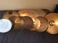 11x cymbals + Piccolo Snare