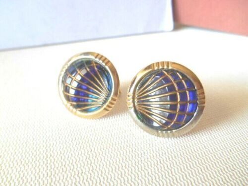 Vintage Goldtone & Blue Lined Cufflinks
