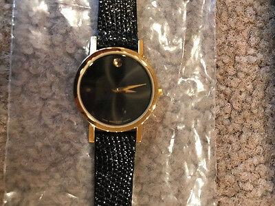 MOVADO Museum black dial swiss women's retro genuine royal lizard leather watch