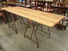 B45022 Solid Timber Industrial Trestle Dining Table Cafe Alfresco Unley Unley Area Preview