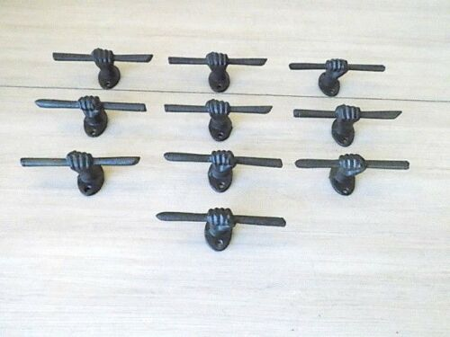 "10 CAST IRON HAND AND STICK BROWN 5"" ORNATE DRAWER PULLS CABINET BIN HANDLES"