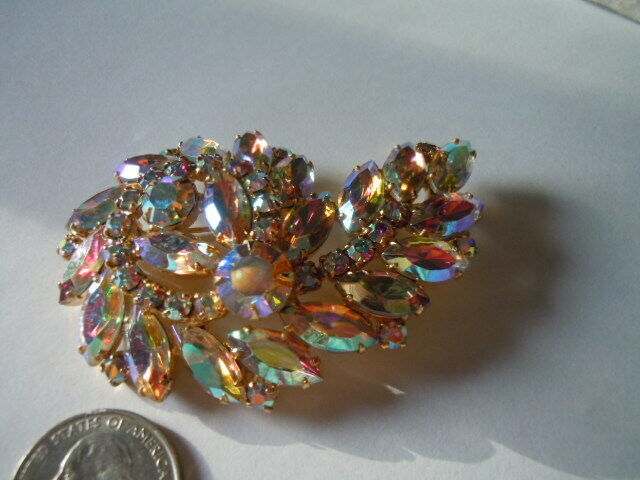 Vintage Golden Aurora Borealis Brooch And Matching Earrings - $60.00