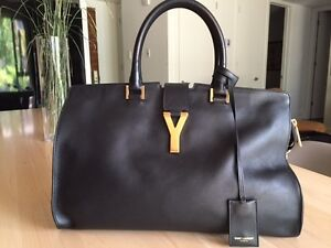 YSL Saint Laurent Ligne Y Cabas Leather Tote Bag Black