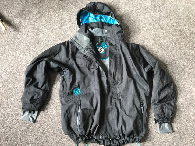 Mens Surfanic black and turquoise pin stripe Ski Jacket size L Large