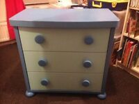 IKEA CHILDS CHEST OF DRAWERS, FINISHED IN BLUE, BARGAIN