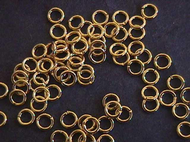 Gold Plate Brass 6mm Split Jump Rings 40 pc 18 Gauge