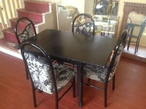Black Dining Table Set with 4 Chairs