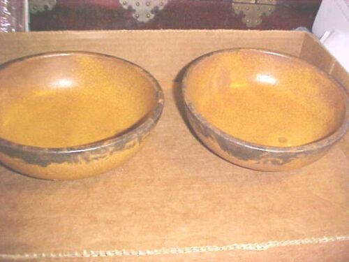 Vintage 2 McCoy Pottery Canyon Mesa Rustic Coupe #1413 Cereal Bowls