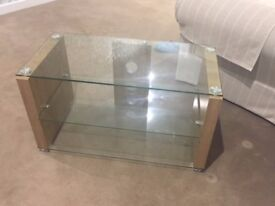 Small glass TV unit with shelf - Immaculate condition