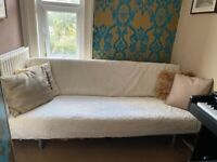 IKEA Sofa Bed with Woollen Cover and Wooden Slats on Metal Base