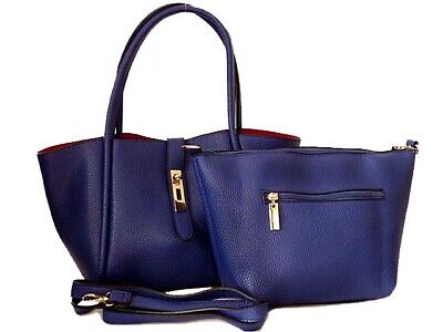 Ladies Royal Blue Small Shoulder Handbag Designer Tote Crossbody Bag in Bag Set