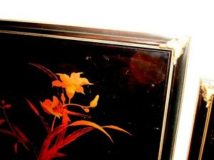 old CHINESE lacquer WALL ART SET x4 BIRDS BAMBOO IRIS DOGWOOD Cambridge Kitchener Area image 8