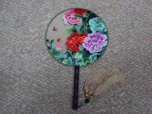 Lifelike 3D Chinese Peony Double Side SU Embroidery Silk Hand Fan