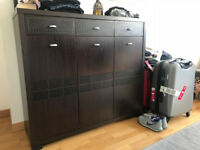 2 wooden sideboards - chests dark brown with drawers and 3 doors each