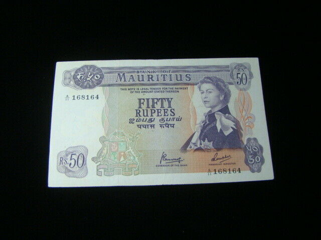 Mauritius 1967 50 Rupees Banknote AU Pick#33c