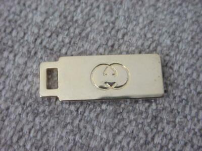 Vintage GUCCI Italy Zipper Pull Tag Tab Key Fob Charm Accessory GG Gold T 1/2