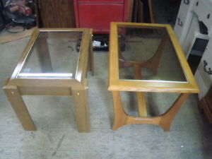 non matching glass end tables $ 10 each