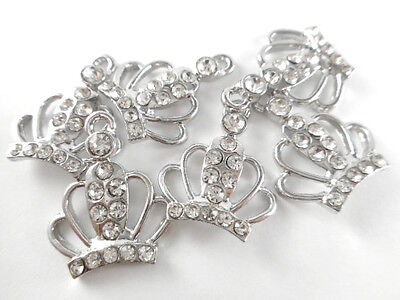 Diamond Crown Charm - Diamond Tiara Crystallized Crown Charm Q10 Antique Silver Plated Findings 66277
