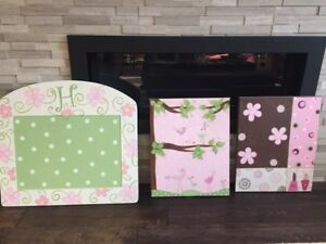 Girls Wall Decor and Bulletin Board - Hand Painted