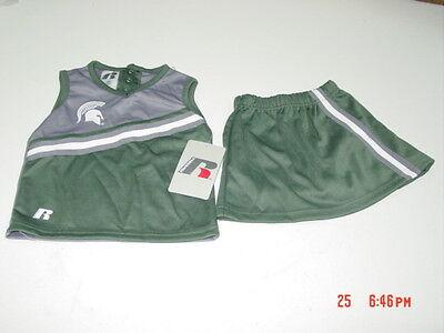 Spartan Outfits (NWT Toddler Girls 3 pc Michigan State Spartan Football Cheerleader Sport)