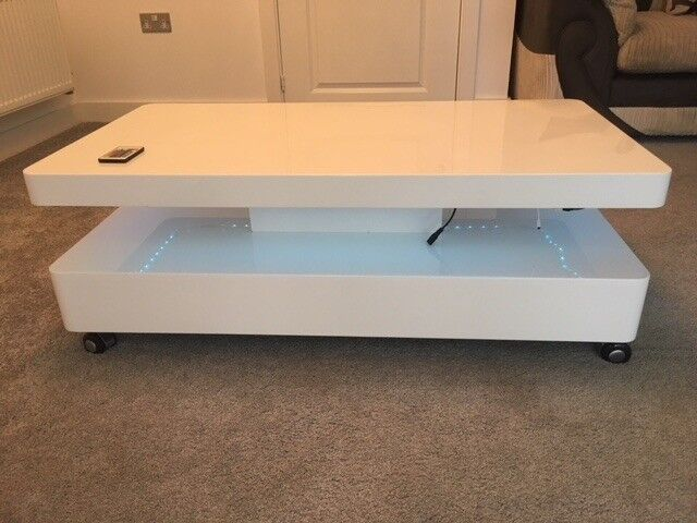 High Gloss White Coffee Table With Led Lighting In Swansea Gumtree