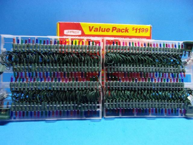 Vintage Lot of 2 Sets Miniature Christmas Lights Multi-Color Strings Unused 200