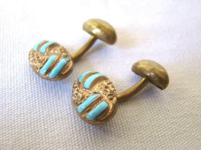 Antique Victorian Gold Plated TURQUOISE Enamel Fixed Back FRENCH Cufflinks