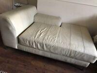 Ex John Lewis Cream Leather Chaise