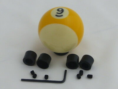 (Custom Pool Billiard Ball #9 Yellow Stripe Gear Shifter Shift Knob )