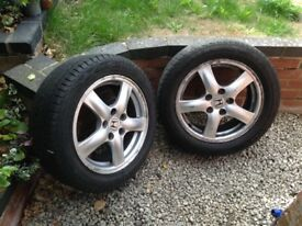"""Honda Accord 16"""" alloy wheels x 2 with 205/55 r16 tyres"""