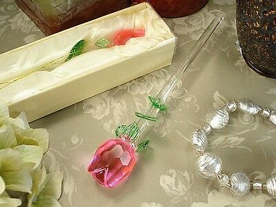 Pink Crystal Rose Stem Baptsim Bridal Wedding Sweet 16 Quinceanera Party Favor