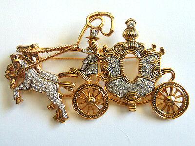 Vintage Horse Coach Pin Brooch Rhinestone Crystal Cinderella Carriage Stagecoach