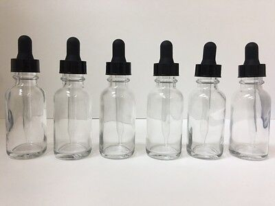 Clear Round Round Bottle - 6-Pack - 1oz CLEAR BOSTON ROUND GLASS BOTTLES WITH GLASS DROPPERS 30ml