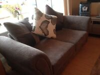Lounge suite with 2 +2 sofas and footstool and chaise lounge. Only 18 months old