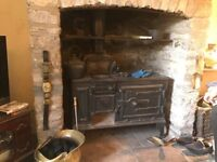 wood burning victorian kitchen oven range and hobbs all working order