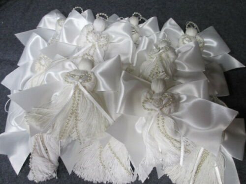 """Lot of 13 White Handmade String Angels Ornaments, 4 1/2"""" with Wired Wings OOAK"""