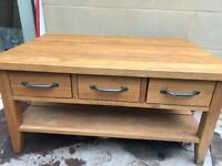 Solid Oak Coffee Table and Plate Rack/Book Shelf