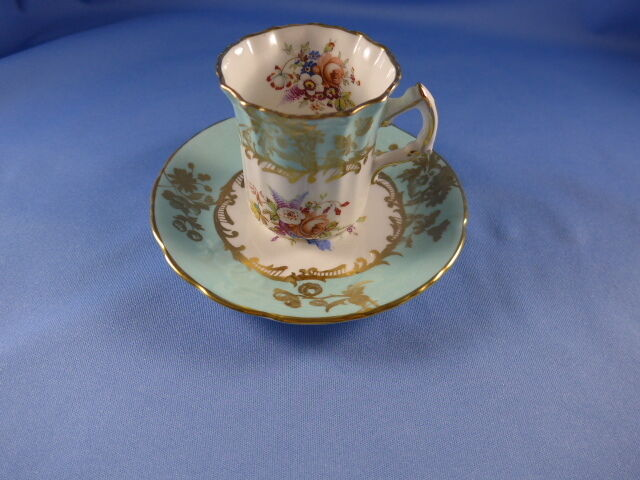 ORNATE Demi HAMMERSLEY Cup & Saucer Blue  Floral & Gold