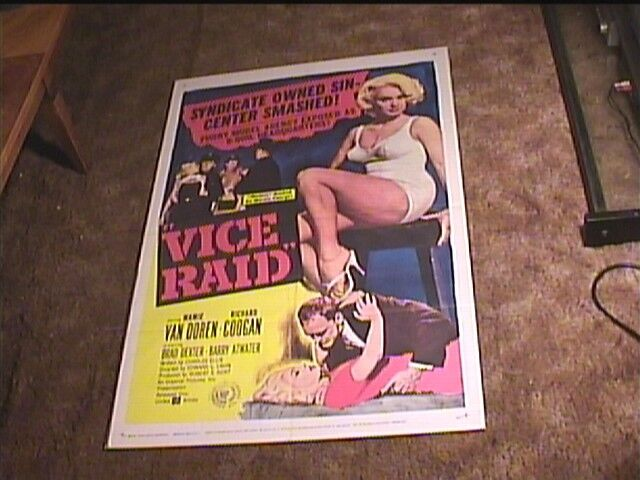 VICE RAID 1960 ORIG MOVIE POSTER MAMIE VAN DOREN BAD GIRL EXPLOITATION