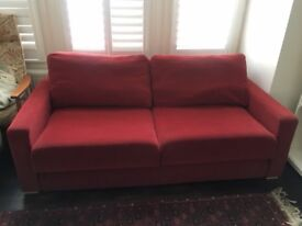 Red 3 seater sofa bed - good condition