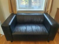 black real leather sofa (can deliver)
