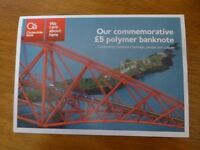 CLYDESDALE BANK UNCIRCULATED £5 POLYMER NOTE 2016 IN PRESENTATION FOLDER