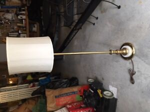 Vintage brass floor lamp with marble base