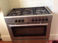 Stainless Steel Range Cooker , gas hob with 5 burners, double size Electric Oven.