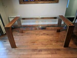 Mobilia dinning table - wood and glass