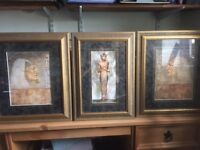 Pictures, Framed prints Egyptian theme, set of 3
